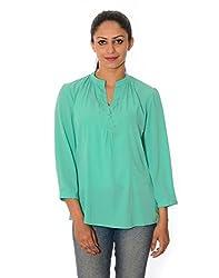 Oviya Women's Light Green Solid Tops