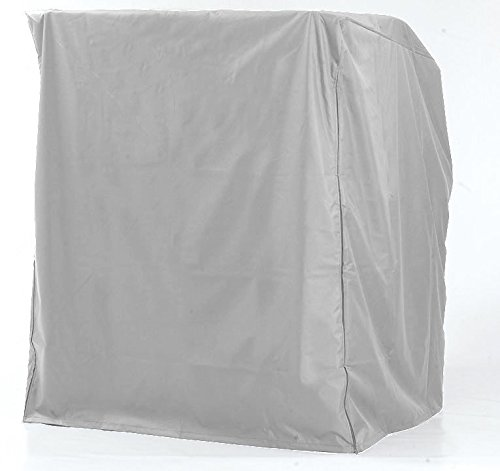 Strandkorbhülle für 2-Sitzer-XL, Polyestergewebe silber-grau, Schutzhülle, winterfest