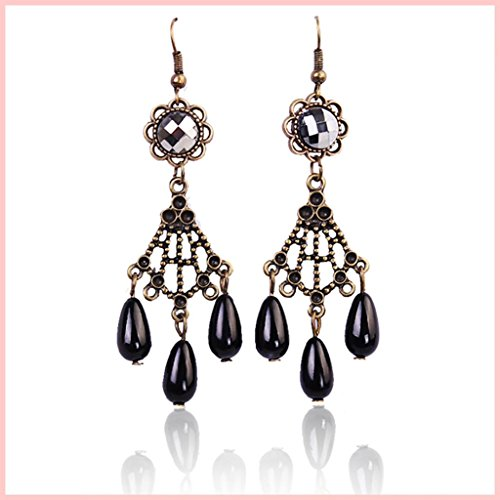 ASA Aolly Drop Earring Costume Jewelry with Black Pendant