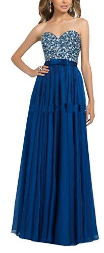TSRJ Women's Sweetheart Crystal Beaded Chiffon Backless A-line Evening Dress Photo Color US16