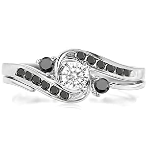 0.50 Carat (ctw) 10k White Gold Round Black And White Diamond Ladies Swirl Bridal Engagement Ring Matching Band Set 1/2 CT (Size 7)