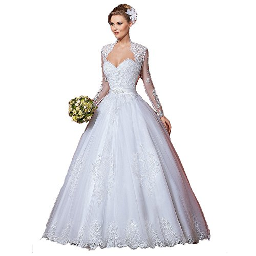 Fenghuavip Sweetheart Neckline Wedding Dresses for Bride Lace Appliques Tulle Ball Gowns Lace Up Back