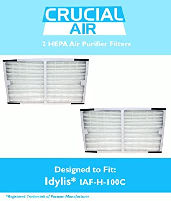 2 Idylis HEPA Air Purifier Filter; Fits Idylis Air Purifiers IAP-10-200, IAP-10-280; Model # IAF-H-100C; Designed & Engineered by Crucial Air