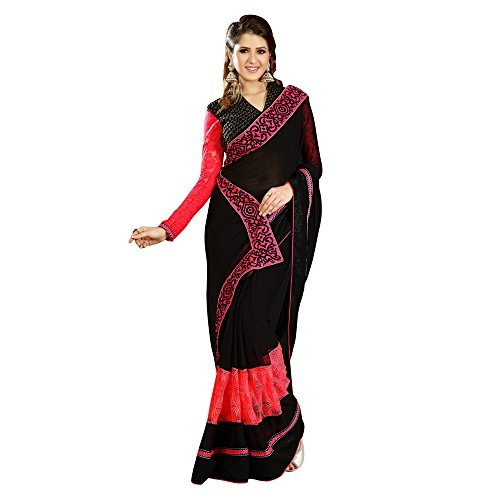 Ananya's Black Pure Metallic Chiffon Saree (multicolor)