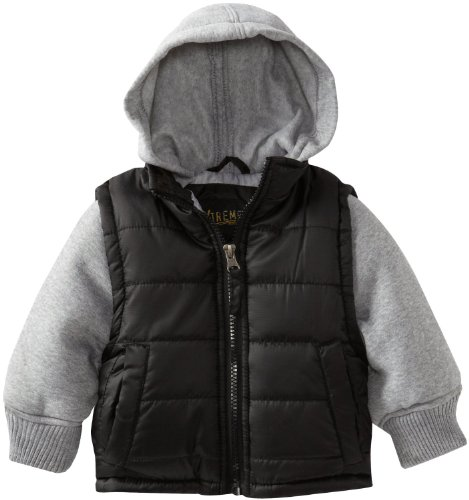 Ixtreme Little Boys Boys Solid Heat Stamp Vestie Puffer Hooded Winter Jacket, Black, 2T front-1024952