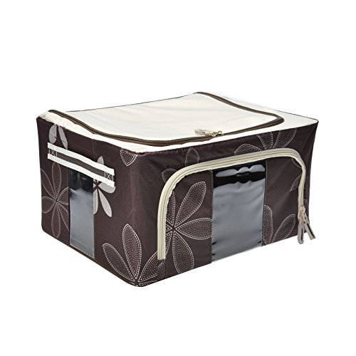 Gbgs Durable Oxford Fabric Foldable Storage Box With See-Through Window, Metal Shelf Inside, Storage Bin With Handles (Coffee, 22L)