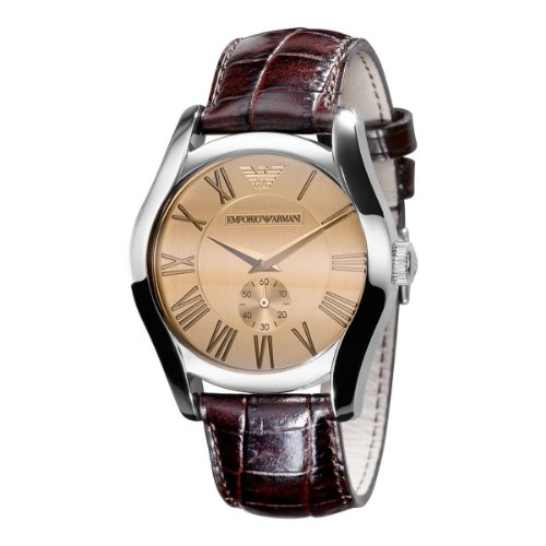 Emporio Armani Gents Brown Leather Strap Watch with Amber Dial