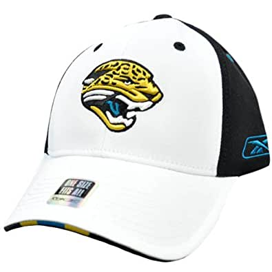 NFL Jacksonville Jaguars White Black Stretch Flex Fit One Size Reebok Hat Cap