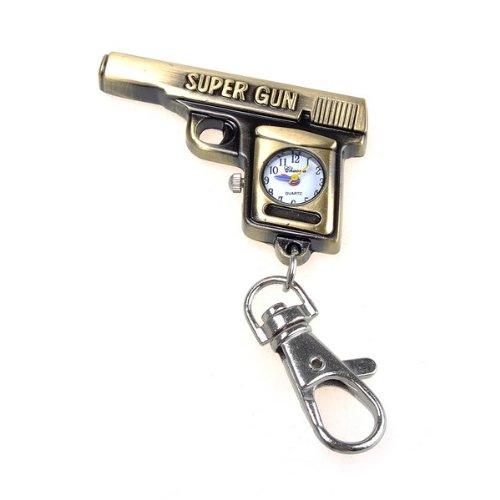 Bestdealusa Bronzy Gun Key Ring Watch Pocket Quzrtz Watch