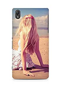 Amez designer printed 3d premium high quality back case cover for Sony Xperia Z2 (Blonde girl beach)