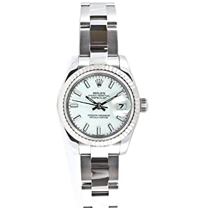 Rolex Ladys New Style Heavy Band Stainless Steel Datejust Model 179174 Oyster Band 18K White Gold Fluted Bezel White Stick Dial