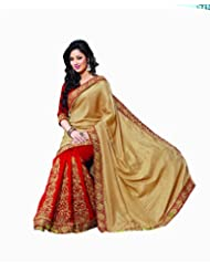 Beautiful Gold & Red Embroidered Saree