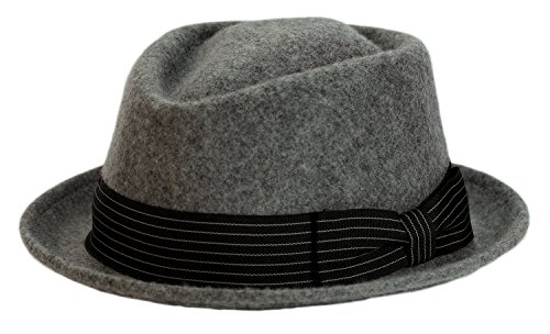9th Street 100% Wool 'Boxer' Porkpie Hat (XLarge (fits 7 1/2 to 7 5/8), Grey) (Pink Pork Pie Hat compare prices)