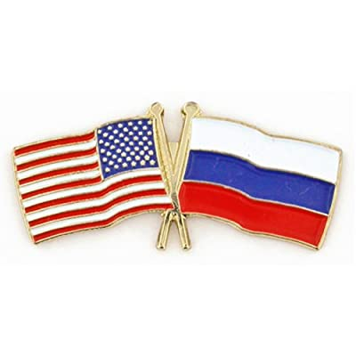 USA and Russia Crossed Friendship Flag Lapel Pin