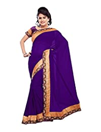 Bano Tradelink Women's Net Saree (Purple)