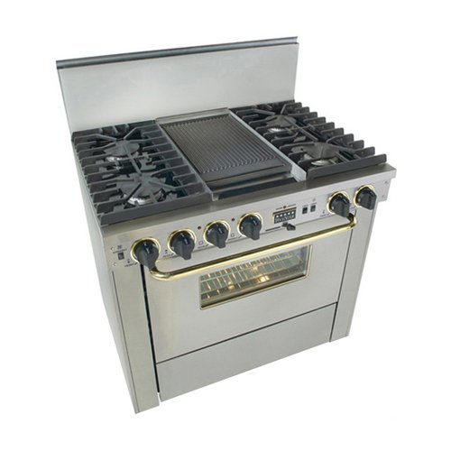 """36"""" Pro-Style Dual-Fuel Natural Gas Range with 4 Sealed Ultra High-Low Burners 3.69 cu. ft. Convection Oven Self-Cleaning and Double Sided Grill/Griddle Stainless Steel with"""
