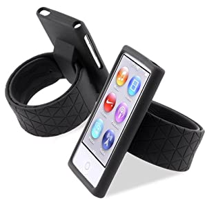 CommonByte Silicone Rubber Gel Black Case Wristband Watchband For iPod nano 7th Gen 7 7G