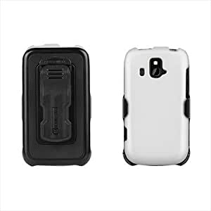 Beyond Cell 3-In-1 Kombo Case and Holster Belt Clip Combo with Screen Protector for ZTE Overture Z995 - Non-Retail Packaging - White