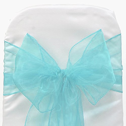 MDS 50 Organza Chair Cover Bow Sash Wedding Banquet Decor -Terquoise