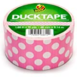 "Duck Brand Polka Dots Printed Duct Tape, 10 yards Length x 1-7/8"" Width, Pink"