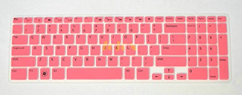 Folox Colorful Soft Keyboard Protector Cover Skin For Dell New Inspiron 15R N5110 M511R M5110 M531R 15R-5521 15R-5537 15R-3537 15R-3521 15Vd-4516 Ins15Rd-4728 (Pink)
