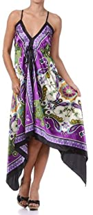 Sakkas Butterfly Paisley Design Silk Feel Handkerchief Hem Adjustable Long Dress