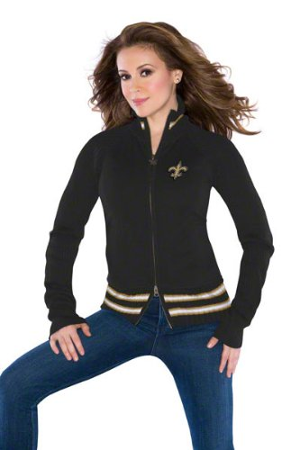 New Orleans Saints Women's Full-Zip Sweater Mix Jacket - by Alyssa Milano at Amazon.com