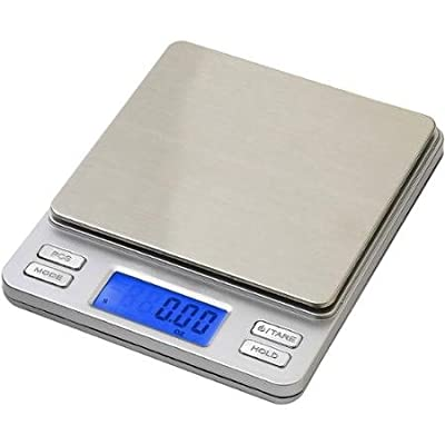 Smart Weigh Smart Weigh Digital Pro Pocket Scale with Back-Lit LCD Display Tare Hold and PCS Features 500 x 0.01g 2 Lids Included Silver SW-TOP500-SIL WLM