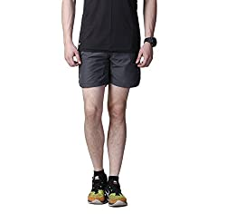 Atheno Men's Polyester Gym Shorts (Atheno-43_Grey_Large)