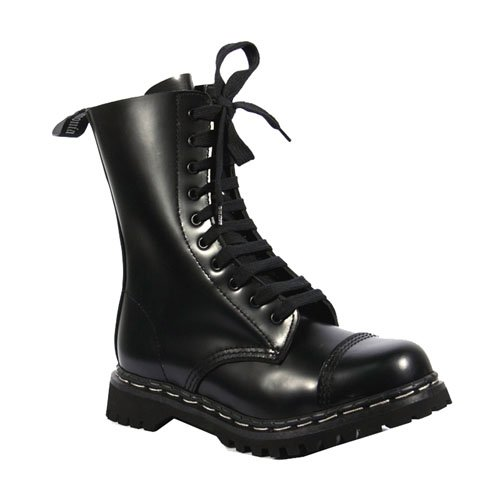 ROCKY-10, Blue, Black or Burgandy Leather 10 Eyelet Steel-Toe Calf Boots