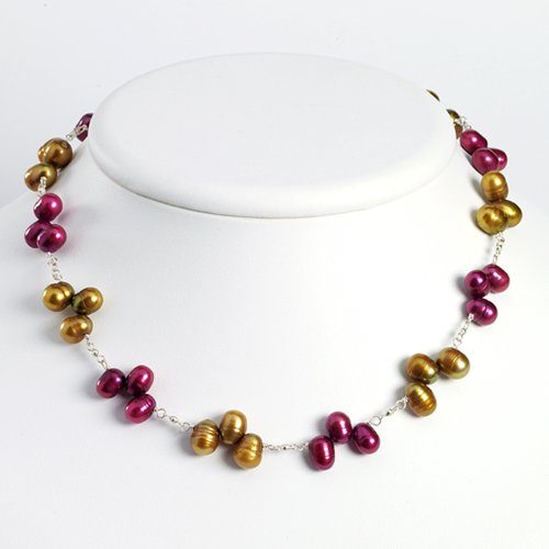 Sterling Silver Golden & Purple Cultured Pearl Necklace