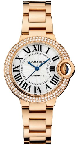 Cartier Ballon Bleu Silver Dial 18kt Rose Gold Diamond Ladies Watch WE902034