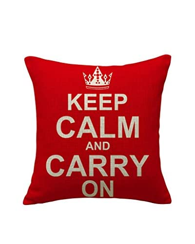 LO+DEMODA Funda De Cojín Keep Calm Red
