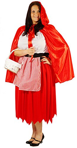 World Book Day-Fancy Dress-Pantomine LITTLE RED RIDING HOOD Ladies Costume - From Plus Sizes 18-40