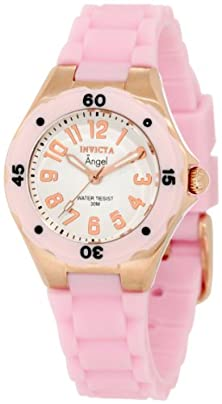 buy Invicta Women'S 1622 Angel White Dial Light Pink Silicone Watch