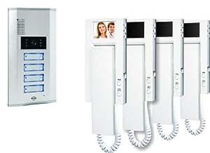 Elro VD64 4-Familien-Videotürsprechanlage mit 2.4 Zoll (5.5 cm) TFT Farbmonitoren