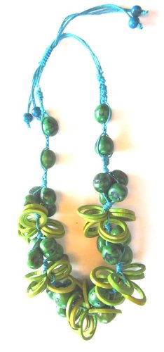 Embolden Tagua Statement Necklace Blue and Green Chunky Tagua Necklace Adjustable