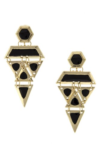 Diva & Duchess Geometric Shapes Linked Earring (Gold) front-336889