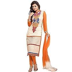 Shayona Women's Georgette Semi Stitched Dress Material_SSE9002SRK_Orange_free Size