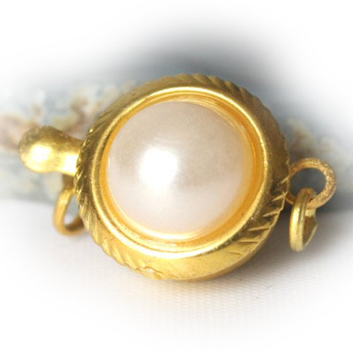 1Pcs 12Mm Yellow Gold Plated Simulated Pearl Flower Ecklace Clasp/Shortner Finding Connector