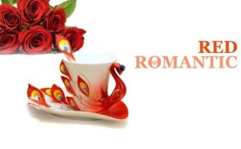 Red Three Sets Collectable Fine Arts China Porcelain Tea Cup And Saucer Coffee Cup Peacock Theme Romantic Creative Present For Wedding/Christmas (Red)