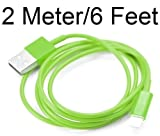 PractiCellular [TM]Data Charger Sync Cable Wire 8 Pin to USB For iPhone 5 5G 2M 2 Meter 6.5 Feet Foot Color (Black, Blue, Green, Orange, Magenta, Pink, Purple, Red, White, Yellow) (2M Green)