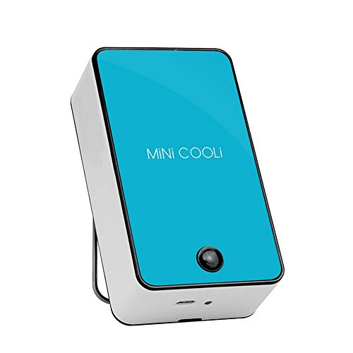 kokome Portable Rechargeable Mini Handheld Air Conditioner Chargeable Cooling Fan USB Rechargeable Air Conditioning Fan Appliances (Blue)