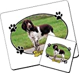 Personalised English Springer Spaniel Dog Pet Wood Table Mat Set