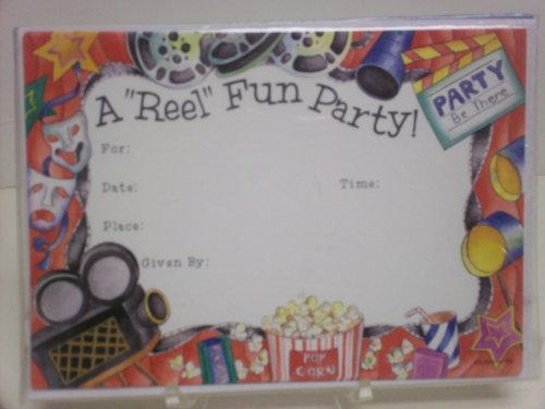 16pc Movie Party Invitations - Cards & Envelopes