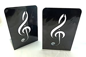Music themed bookend a pair of solid black treble clef design metal book stand 2 - Treble clef bookends ...