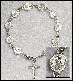 Catholic St. Benedict Exorcism Medal Rosary Bracelet, Silver Plate 10 Mm Bead -- 8
