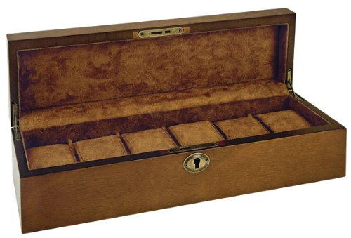 Caddy Bay Collection Vintage Wood Finish Watch Case Display Storage Box Chest With Solid Top Holds 6 Large Watches