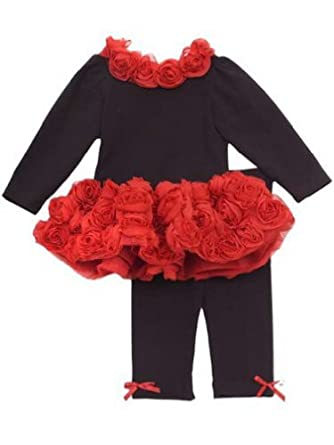 SIze 2T - 6X Rare Editions Red Rose Pant Set 4T