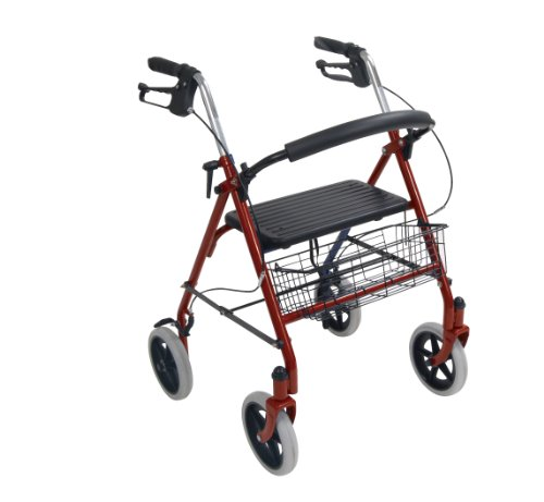 Drive Medical Four Wheel Rollator with Fold Up Removable Back Support, Red Picture